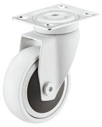 Zwenkwiel zonder Rem - 30 kg - Wit - Loopvlak Zacht - ø 50 mm