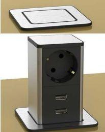 POP UP Inbouwstopcontact met 2 USB laders - Zwart/RVS