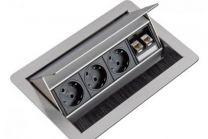 Evoline Flip Top Push Data M - 3 Stekkerdozen + 2 RJ45 - RVS