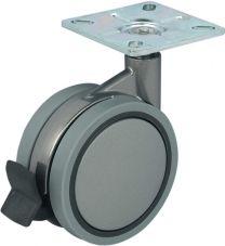 Meubelwiel met Rem - 60kg - Loopvlak Zacht - ø 100 mm