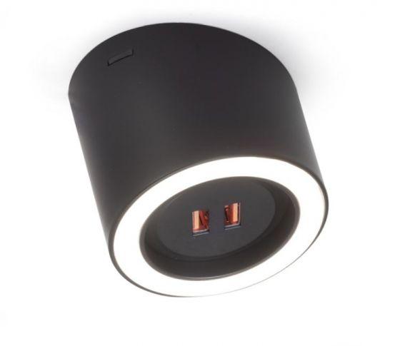 Unika Led Opbouw-spot met USB lader - Hoek van 15° - Zwart Mat