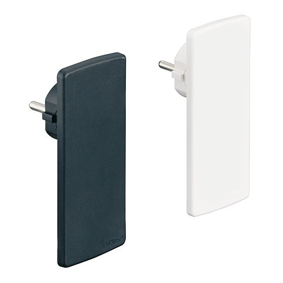 EVOline Plug - Platte stekker - 5 mm - Zonder Verlengsnoer - Kleur: Zwart en Wit