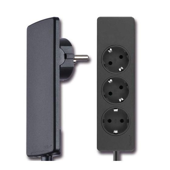 EVOline Plug - Platte stekker - 5 mm - met 3-voudige stekkerdoos - Kleur: Zwart en Wit