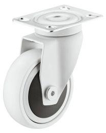 Zwenkwiel zonder Rem - 50 kg - Wit - Loopvlak Zacht - ø 75 mm