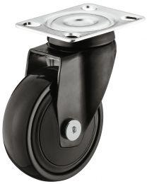 Zwenkwiel zonder Rem - 50 kg - Zwart - Loopvlak Zacht - ø 75 mm