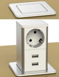 POP UP Inbouwstopcontact met 2 USB laders - Wit/RVS