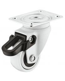 Zwenkwiel met Rem - 12 kg - Wit - Loopvlak Zacht - ø 25 mm
