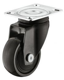 Zwenkwiel zonder Rem - 30 kg - Zwart - Loopvlak Zacht - ø 50 mm