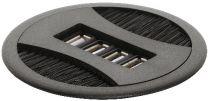 Kabeldoorvoer ø 80 mm - met USB aansluitingen - Zwart en Zilver