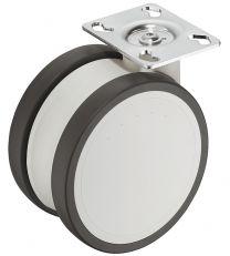 Dubbel meubelwiel - Zwenkbaar - 125 kg - ø 125 mm - Loopvlak Zacht