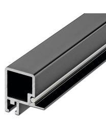 Smartcube Profiel - Boven voor Schuifdeur - Zwart en Inox Look - Lengte: 2500 mm