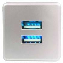 USB-Oplaadstation - Inboor - Met oriëntatie Led - Aluminium kleur, Wit, Zwart