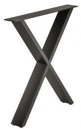 Tafelonderstel - Industrieel - X-Vorm - Zwart - 720 x 700 mm (hxb) - Met Stelpootjes